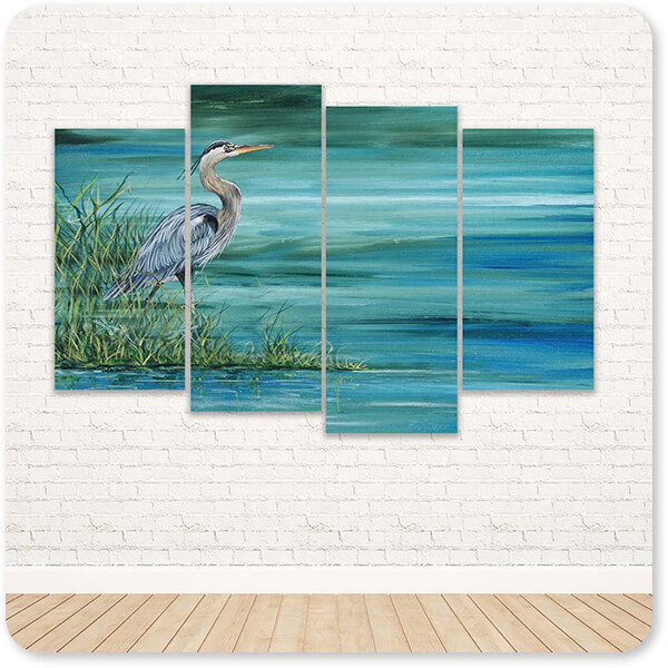 Jean Plout Artist Collection Great Blue Heron v2 - Multi-piece Canvas Art - 2 Designs - EXPRESS DELIVERY!