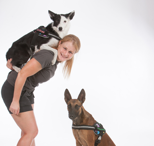 Lindsey Hinds and her dogs Pogo and Zilla
