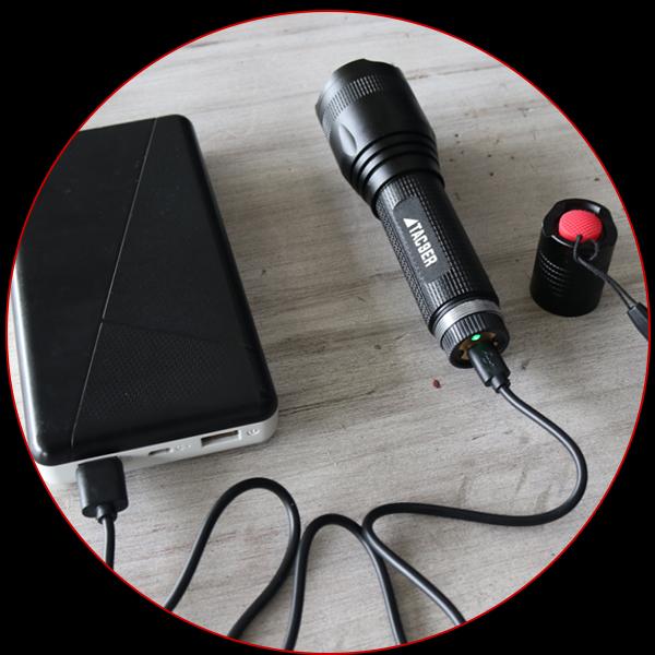 usb charging tactical flashlight