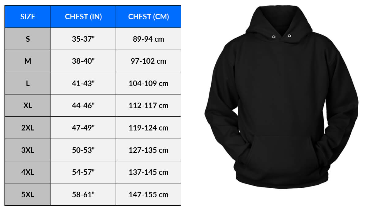 Sizing Measurements Charts - Apparel - CHART and Image - Unisex Hoodie