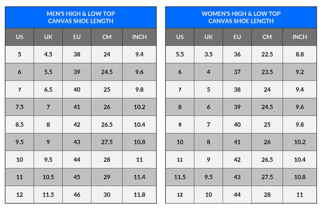 Sizing Measurement Charts - Men's Women's Canvas High and Low Top Shoes LENGTH