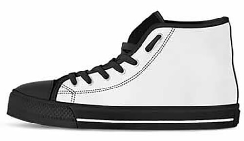 Sizing Measurement Chart - Canvas Shoes High Top - WHITE Facing Left