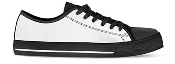 Sizing Measurement Chart - Canvas Shoes Low Top facing right