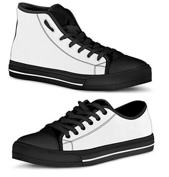 Sizing Measurement Charts - Men's Women's Canvas High and Low Top Shoes Angle STACKED
