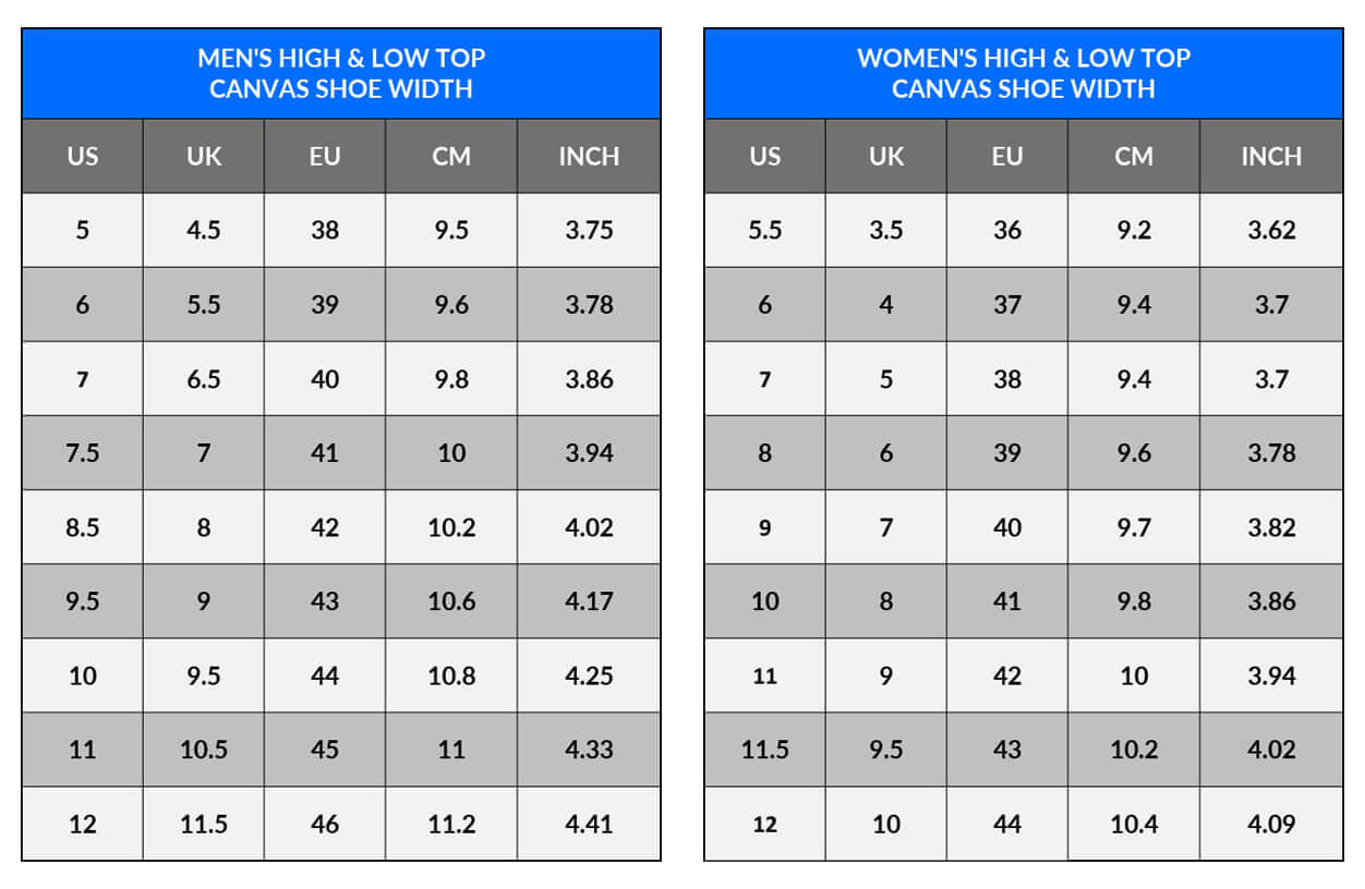 Sizing Measurement Charts - Men's Women's Canvas High and Low Top Shoes WIDTH