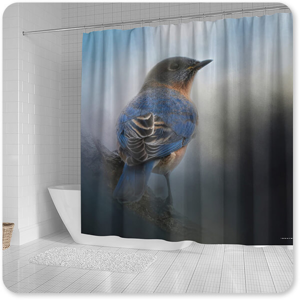 Birds Collection Blue Winter Visitor - Bathroom Shower Curtain - EXPRESS DELIVERY!