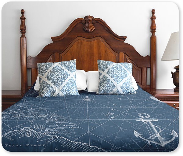 Boats and Ships Collection Duvet Cover on a Vintage Room Nautical Blues - Bedding Set with pillows