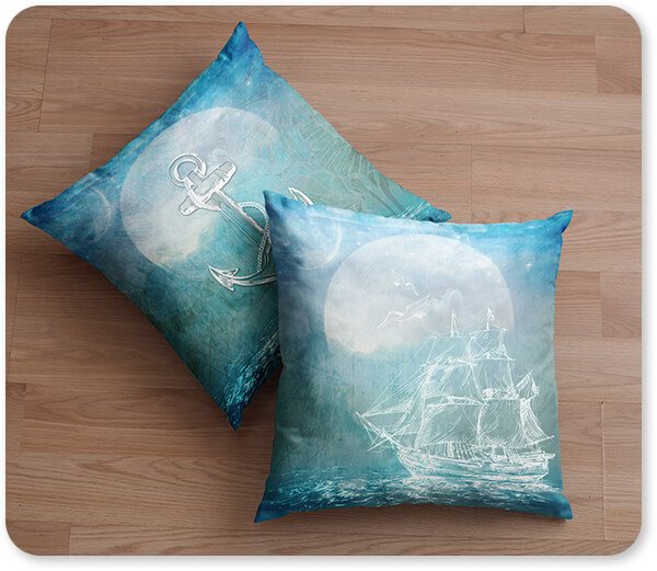 Boats and Ships Collection Two Pillows Lying on a Wooden Surface Sailor Away Ship Anchor