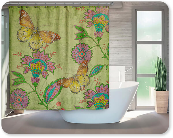 Floral Collection Flowers Jardin De Luxe Butterflies - Bathroom Shower Curtain - EXPRESS DELIVERY!