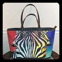Zebra Large Leather Tote Bag