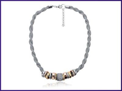 Entwined Silver Metal Bracelet & Necklace