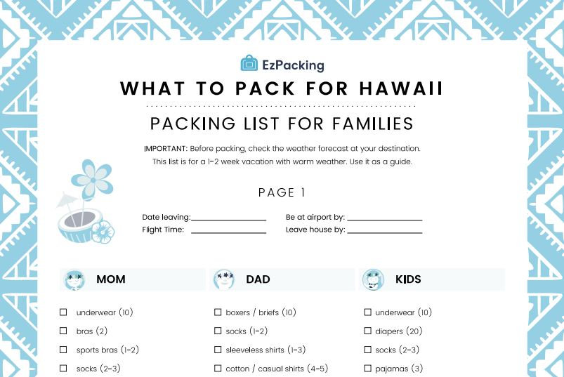 Free download for Hawaiian cruise family packing list