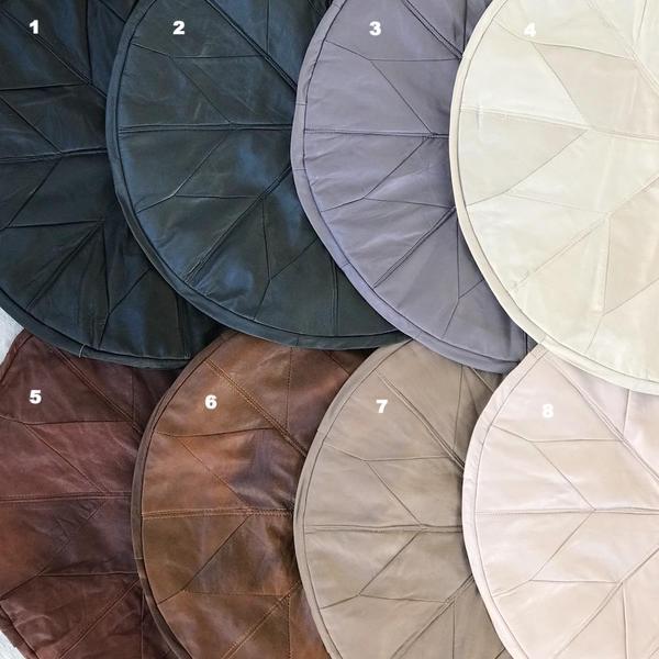 Turkish Leather Pouffe