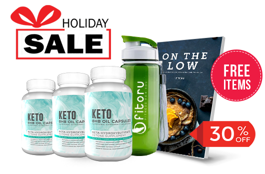 Holiday Deal - BHB Capsules 90 Days with 30% Off - FREE Items: Healthy Sports Water Bottle and On The Low Keto eCookBook