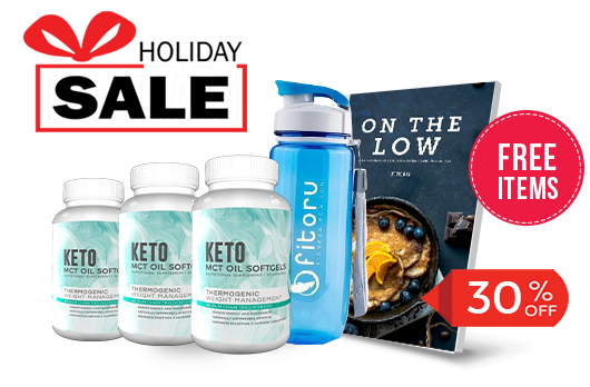 Holiday Deal - MCT Softgels 90 Days with 30% Off - FREE Items: Healthy Sports Water Bottle and On The Low Keto eCookBook