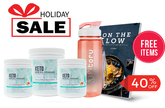 Holiday Deal - BHB Powder 3 Canisters with 40% Off - FREE Items: Healthy Sports Water Bottle and On The Low Keto eCookBook
