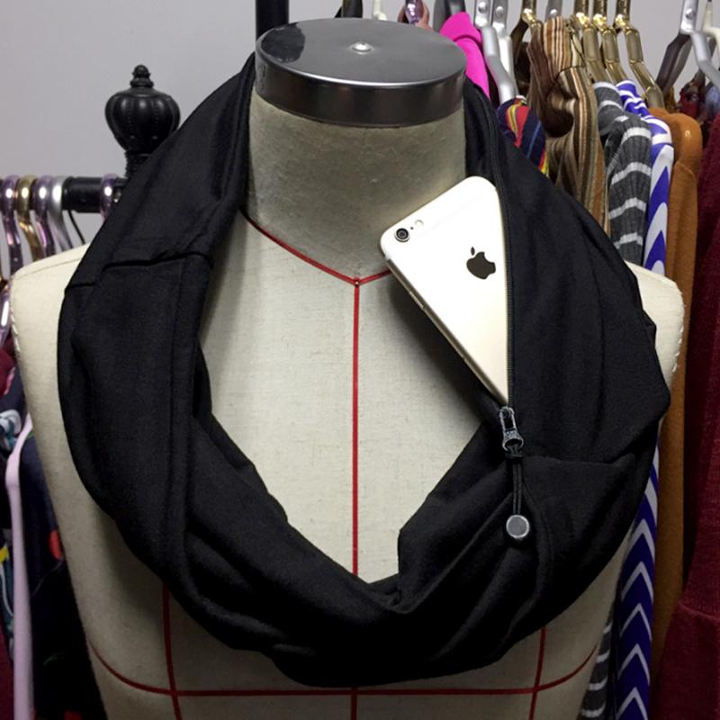 Black Infinity scarf with pocket