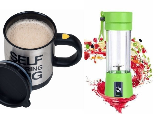 Self Stirring Mug + Electric Juicer