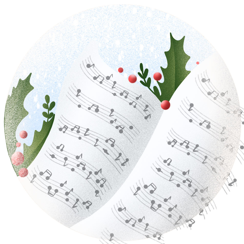Listen to soothing Christmas songs to help children wind down before bed.