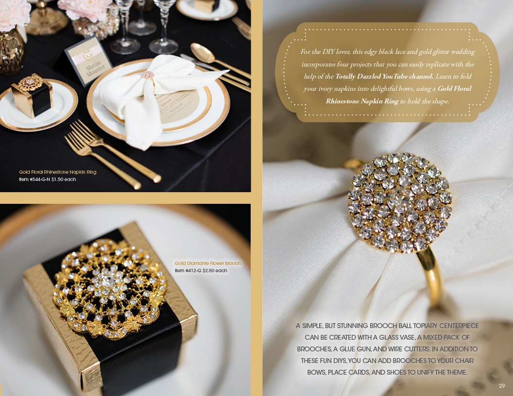 Onyx and Gold Upscale Wedding Details