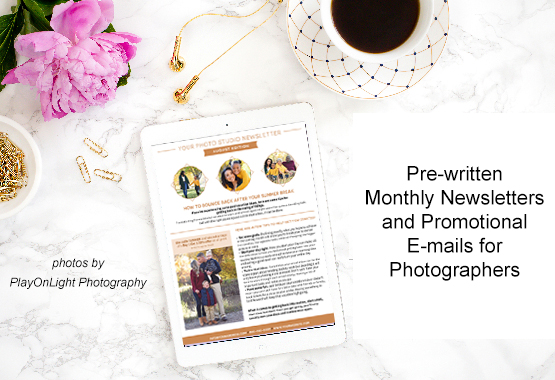 Pre-written e-mails for photographers and newsletters