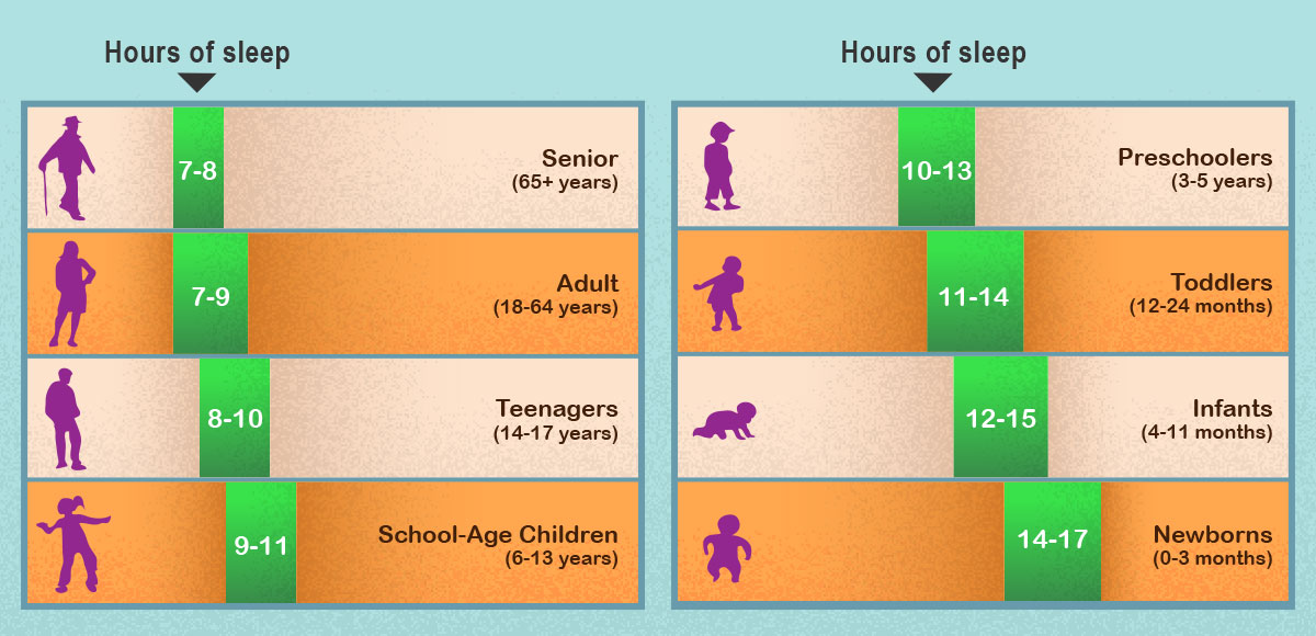 Hours of sleep adults or children need, depending on age.
