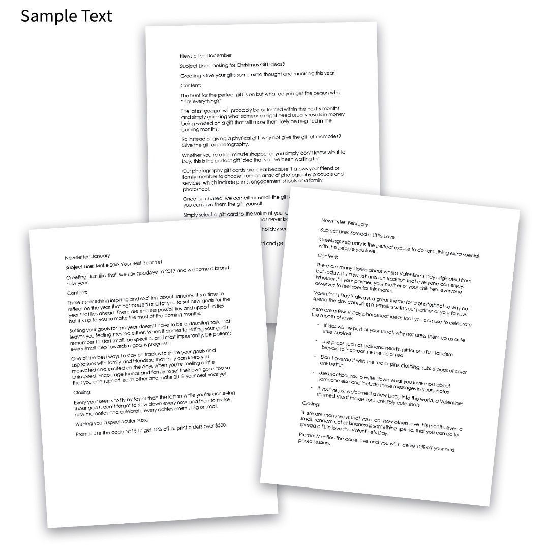 Pre-written newsletters for Photographers