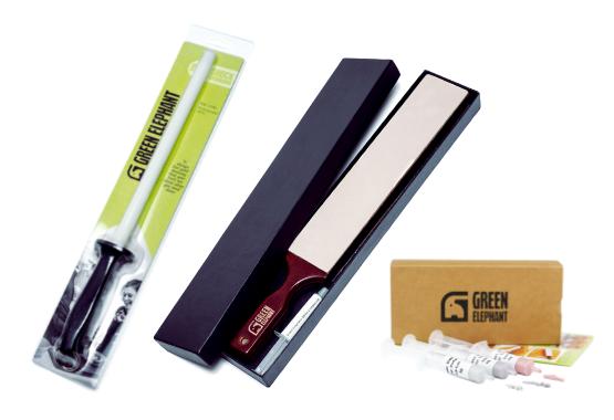 Honing Steel, Leather Strop, Diamond Compound Kit