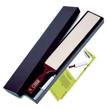 Leather strop and stropping compound in a black box with printed instructions - green elephant
