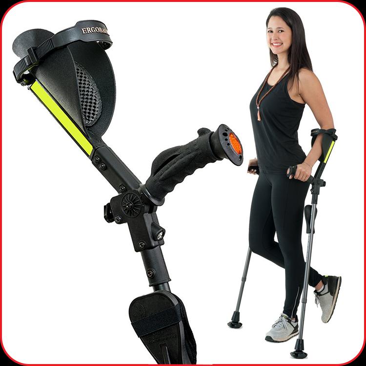 Ergobaum forearm crutch and lady