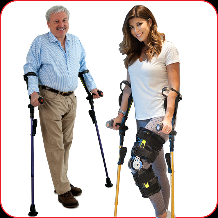 Mr and a lady using Ergobaum Crutches