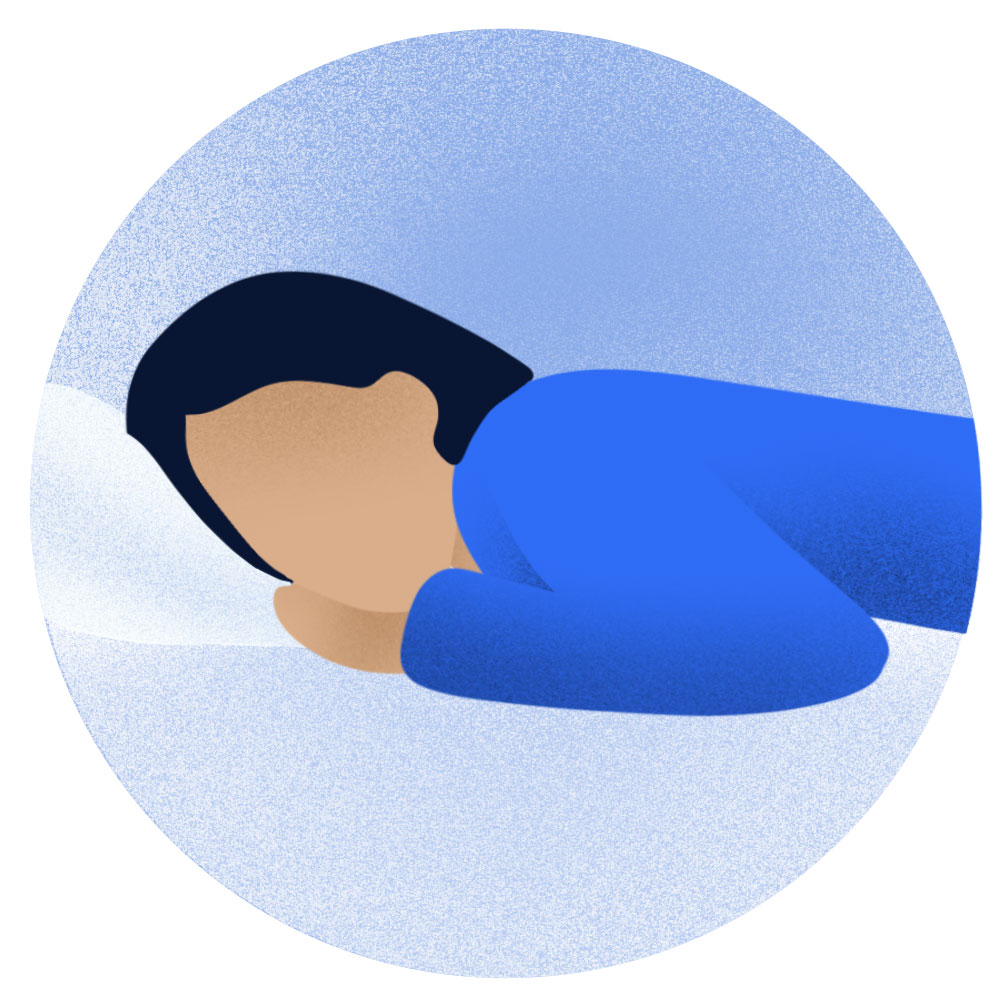Sleeping with one or both hands tucked under chin.