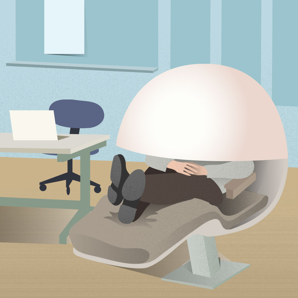Nap pods in the office allow employees to take a quick 20-minutes nap and feel refreshed for the rest of the day.
