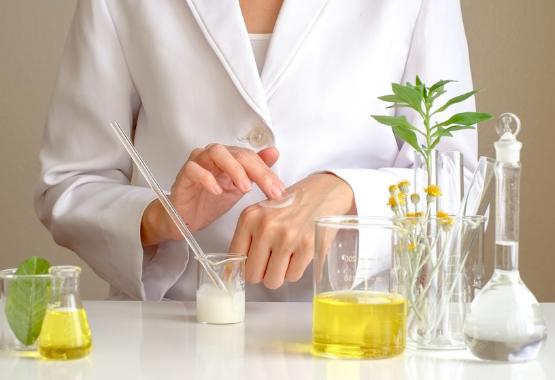 dermatologist mixing ingredients