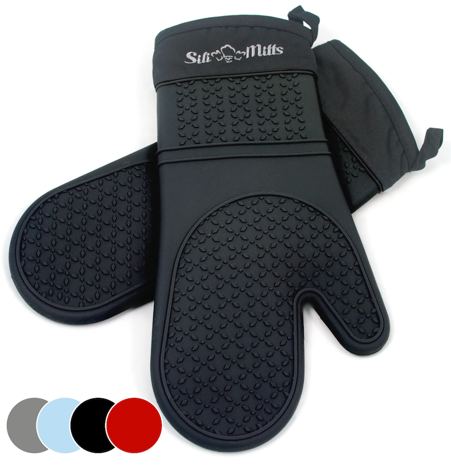 black pot holders and oven mitts