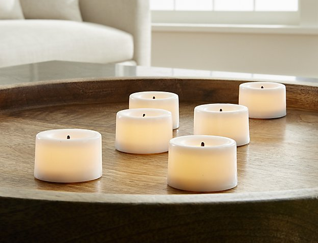 Flameless White Tea Lights, Set of 6 from Crate&Barrel