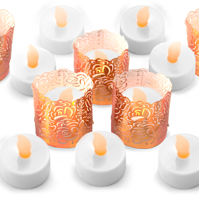 flameless tealights with copper wraps