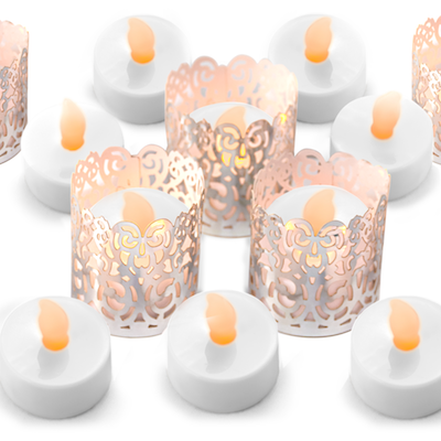 flameless tealights with silver wraps