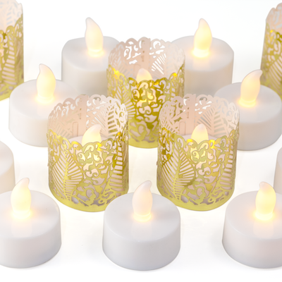 flameless tealights with gold wraps